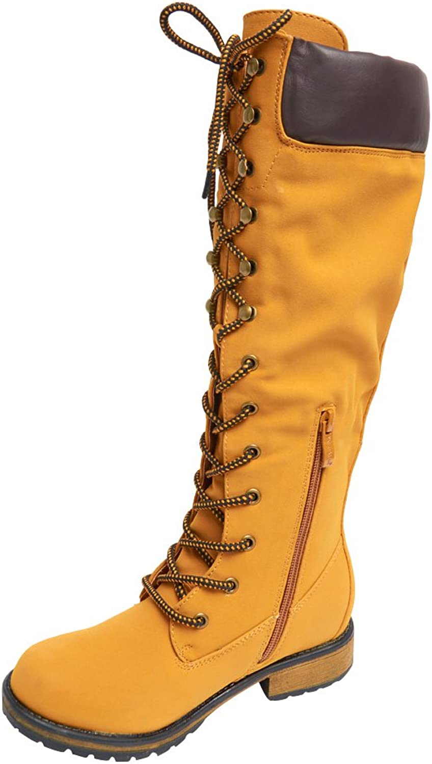 Nature Breeze Lauren-02h Womens Knee High Lace Up Boots-Wheat-5.5