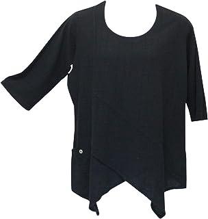 Ezze Wear Women`s Black Dotty Gauze Cotton Ginger Tunic Top