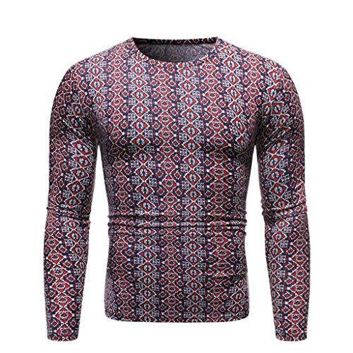 Fantastic Deal! Mens Ugly Christmas T-Shirt, Geometric Print Regular Fit Crewneck Long Sleeve Blouse...