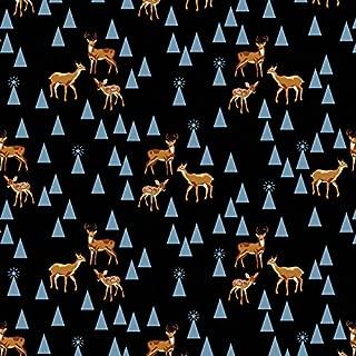 Free Spirit Fabrics Tula Pink Holiday Homies Bambi Life Blue Fabric By The Yard