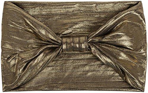 styleBREAKER Damen Glitzer Haarband mit Schleife in Metallic Streifen Optik, Stirnband, Headband, Haarschmuck 04026017, Farbe:Schwarz/Gold