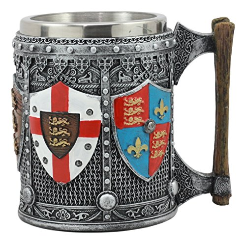 Ebros Large Medieval Coat Of Arms English Heraldry Tankard Mug 16oz Kingdom Of England Lion Heart Crest Beer Stein Tankard Coffee Cup