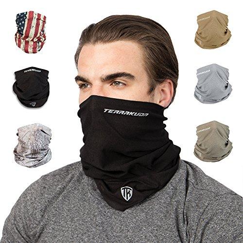 Terra Kuda Face Clothing Neck Gaiter Mask – Non Slip Light Breathable for Sun Wind Dust Bandana Balaclava (Stealth Black)