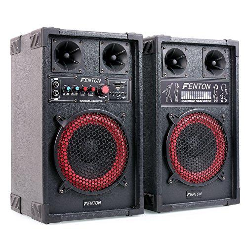 Fenton SPB-8 - PA Lautsprecher, Aktivboxen Set, 400 Watt max, 20 cm (8
