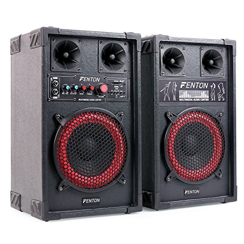 "Fenton SPB-8 - PA Lautsprecher, Aktivboxen Set, 400 Watt max, 20 cm (8\"")-Subwoofer, Bluetooth, USB-Port, SD-Slot, MP3-fähig, schwarz"