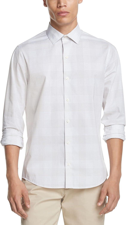 DKNY Mens Beige Multi-Check Classic Fit Casual Shirt XXL