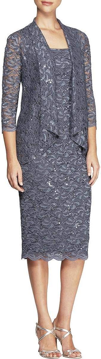 Alex Evenings Women's Two-Piece Dress Set with Cascade Detail Jacket (Petite and Regular Sizes)