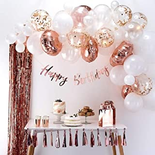 Balloon Arch & Garland Kit Pink, Blush, Rose Gold & White Sm-Xlrge Balloons, Glue Dots, 17inch Decorating Strip Wedding, Baby Shower, Graduation, Anniversary Bachelorette Party Decoration