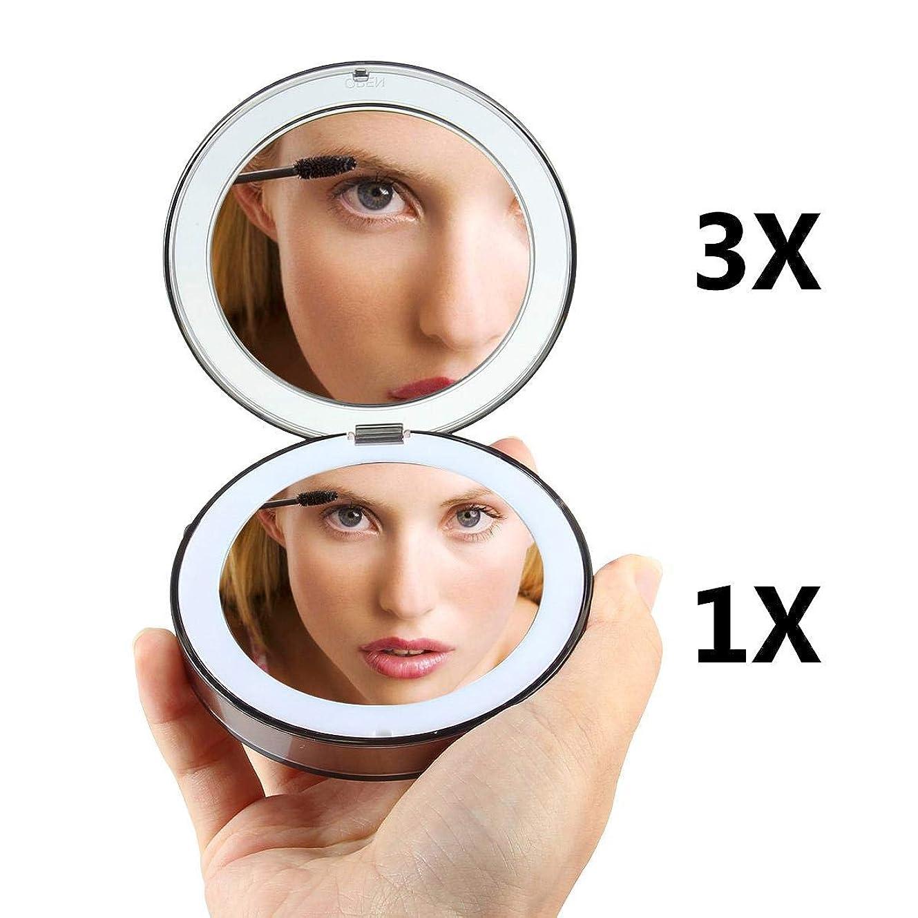 対バウンド実験室OOOUSE 化粧鏡 Led付き 拡大鏡付き メイクかがみ ライト 手鏡 コンパクト 折りたたみ ポケット 携帯 女優ミラー 軽量 小さい USB充電 可愛い 丸 二面鏡 明るさ調節可能