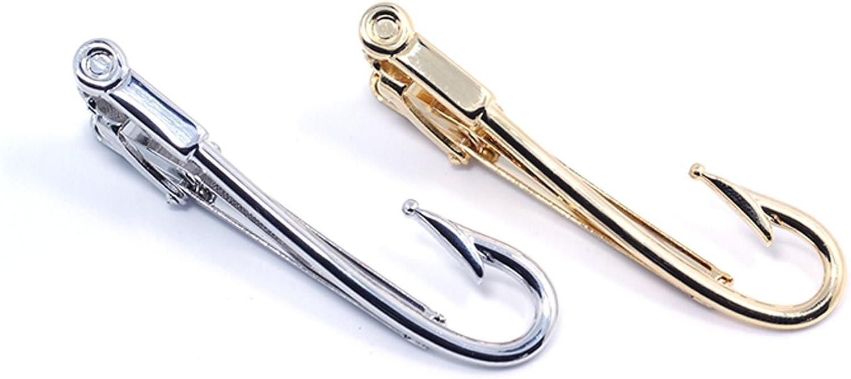 ZUNON Fishing Hooks Tie Clips Bar Silver Louisville-Jefferson County Mall Golden 100% quality warranty Tone Tacks Mens