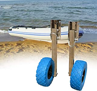 NICE CHOOSE Boat Launching Wheels, Stainless Steel Transom Launching Wheel Dolly 10'' x 3 '' Tires for Inflatable Boat (US Shipping)