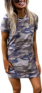 Summer Fashion Sexy Lady Camouflage Round Neck Short Sleeve Open Back T-Shirt Dress