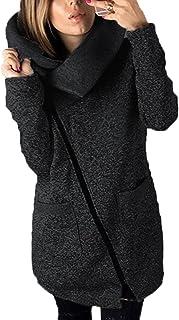DOKER Women's Fashion Wide lapel Oblique Zipper Coat Sweater