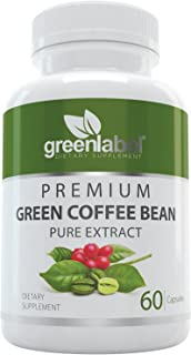 Pure Green Coffee Bean Extract, Natural Weight Loss Pills, Appetite Suppressant, Metabolism Booster, Fat Burner and Blood Sugar Support Supplement, for Women and Men. Made in Utah, USA.