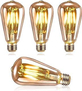 DASIAUTOEM Ampoule LED E27 Vintage, Ampoule LED Edison ST64 4W Retro Edison Ampoule Vintage Décorative Lampe Nostalgiques ...