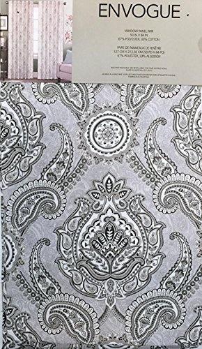Envogue Pair of Window Panels Curtains Drapery Set of 2 Floral Paisley Medallions in Shades of Gray and White on Light Gray -- 50 Inches by 84 Inches