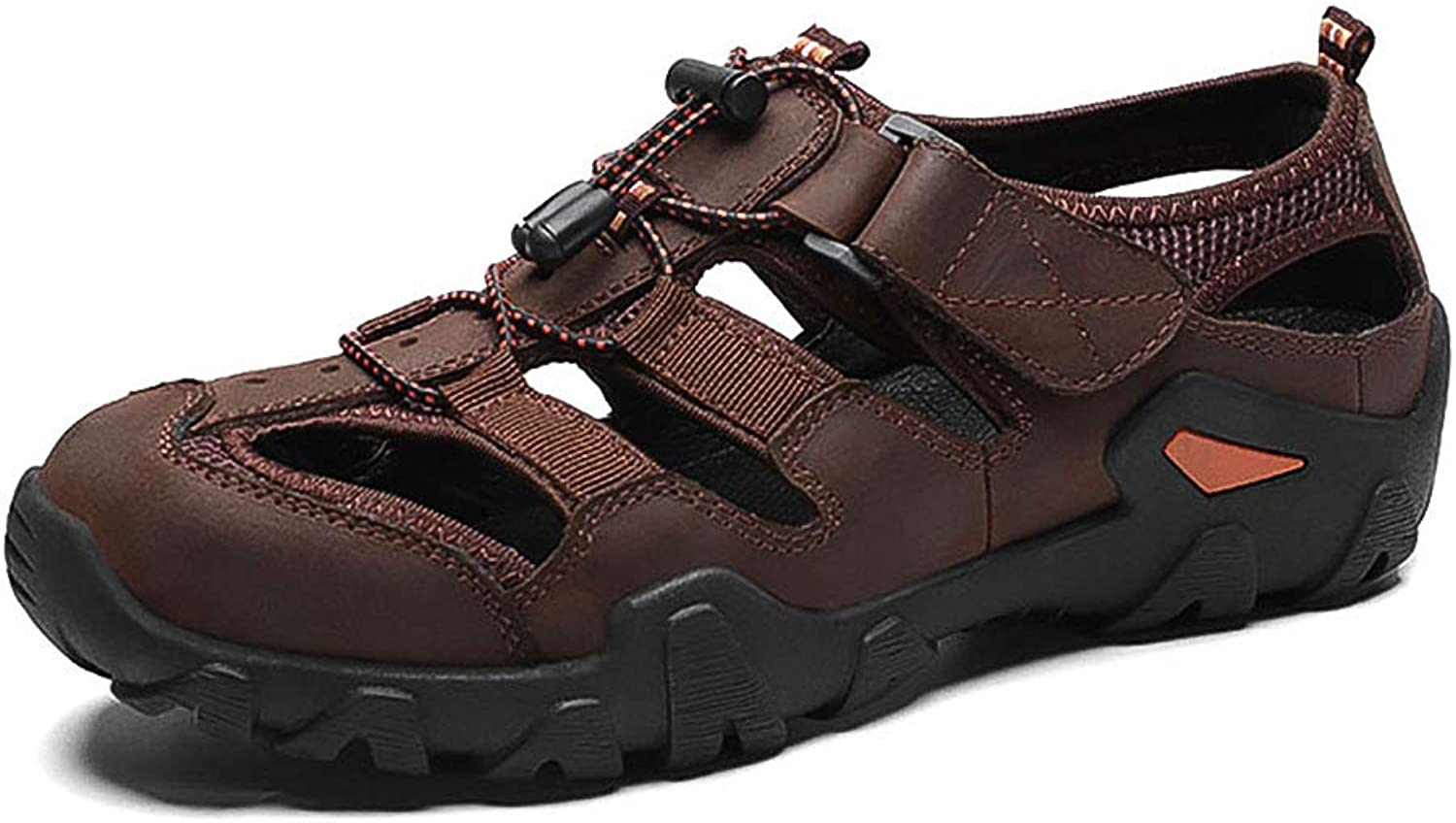 KTOL Casual Beach Men's Sandal, Summer Non-Slip Sport Sandals Arched Support PU Leather Hollow