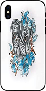 Phone Case Compatible with iPhone X Brandnew Tempered Glass Backplane,Pug,Cute Dog Face with Floral Arrangement with Beautiful Flowers Animal Fun Illustration Decorative,Teal Grey,Anti-shock and shock