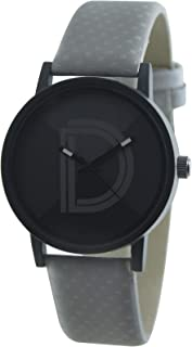 DAMIT Analogue Black Shaded Dial Grey Leather Belt Casual Men's Watch DM04