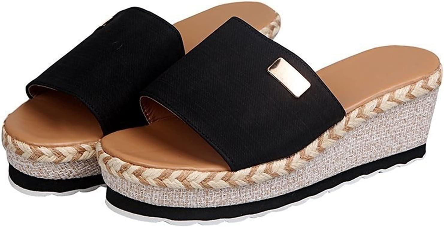 Slope-Heeled High-Heeled Sandals, Thick-Soled Hemp Rope Flip-Flops, Women's Summer Cross-Border High-Heeled Women's Shoes, Outdoor Wear Ladies Sandals (Color : Black, Size : 10)