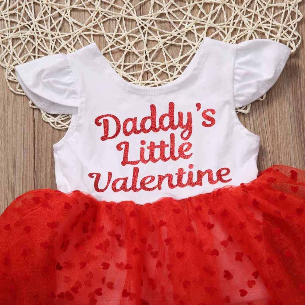 Bowanadacles Baby Girls Valentine/'s Day Dress Ruffle Sleeve Daddy/'s Little Valentine Bodysuit Tutu Outfit