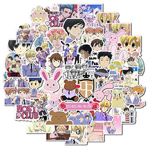 DSSJ 50 Dibujos Animados Impermeable Maleta Caja de contraseña Maleta Pegatinas de Coche eléctrico para Anime Ouran College Host Department