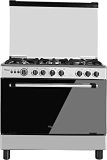 Super General Freestanding Gas-Cooker 5-Burner Full-Safety, Steel Cooker, Gas Oven with Thermostat, Rotisserie, Automatic ...