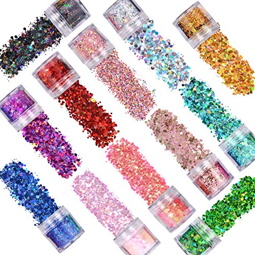 12 Colors Holographic Chunky Glitter,Chunky Sequins Iridescent Flakes,Ultra-Thin Sparkles Set for Festival Arts,Epoxy Tumblers,Epoxy Resin,DIY Nail Art Design and Other Decoration
