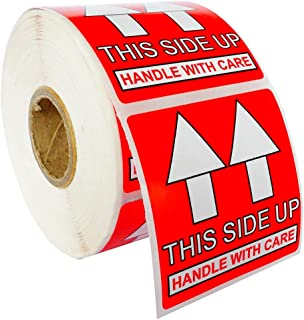 """1 Roll ; 500 Labels per Roll, 2""""x2"""" This Side Up, Handle with Care Pre-Printed Labels/Stickers (2"""" x 2"""") - BPA Free!"""