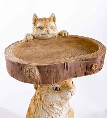Wind & Weather 21-Inch High Whimsical Cat and Kitten Bird Feeder with 13-Inch Wide Bowl Cast in Weather-Resistant Resin a