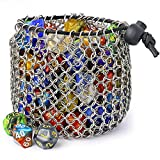 Chainmail D&D Dice Bag - Large Capacity Stainless Steel Drawstring Dice Bag for Dungeons and Dragons Dice Set by YOUSHARES (Hold 100 DND Dice)