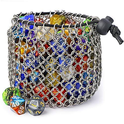YOUSHARES Drawstring D&D Dice Bag - Bolsa de Dados de COTA de Malla de Acero Inoxidable de Gran Capacidad para Mazmorras y Dragones Juego de Dados (Hold 100 DND Dice)