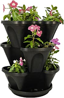Black 3-Tier Stacking Planter - Vertical Gardening for Herbs, Vegetables, Flowers - Patented Grid System - Best Self Watering Planter - BPA Free