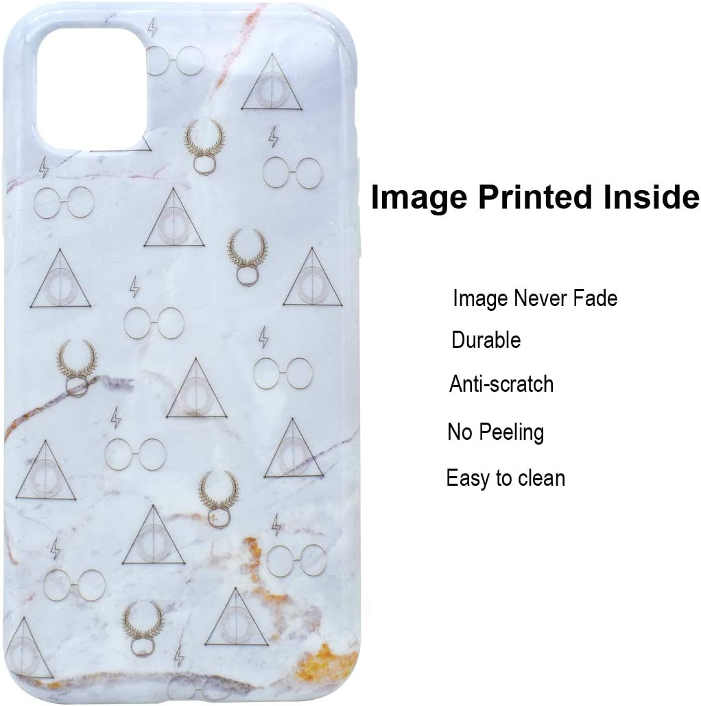 Unov Phone Case for iPhone 11 Case Soft Protective Slim TPU Shockproof Bumper Design 6.1 Inch (Marble Hallows)