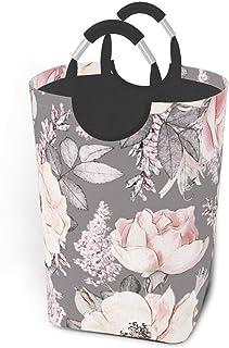ZCHW Panier à Linge Motif Fleurs Roses avec Feuilles Panier à Linge Sale Sac de vêtements Seau Pliable Poubelle de Lavage ...