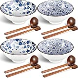 Ceramic Ramen Bowls,Japanese 45 Ounce Large Ceramic Noodles Bowl with Chopsticks Spoon and Chopsticks Stand for Soup, Cereal, Rice, Udon, Asian Noodles, blue and white porcelain ,Set of 4