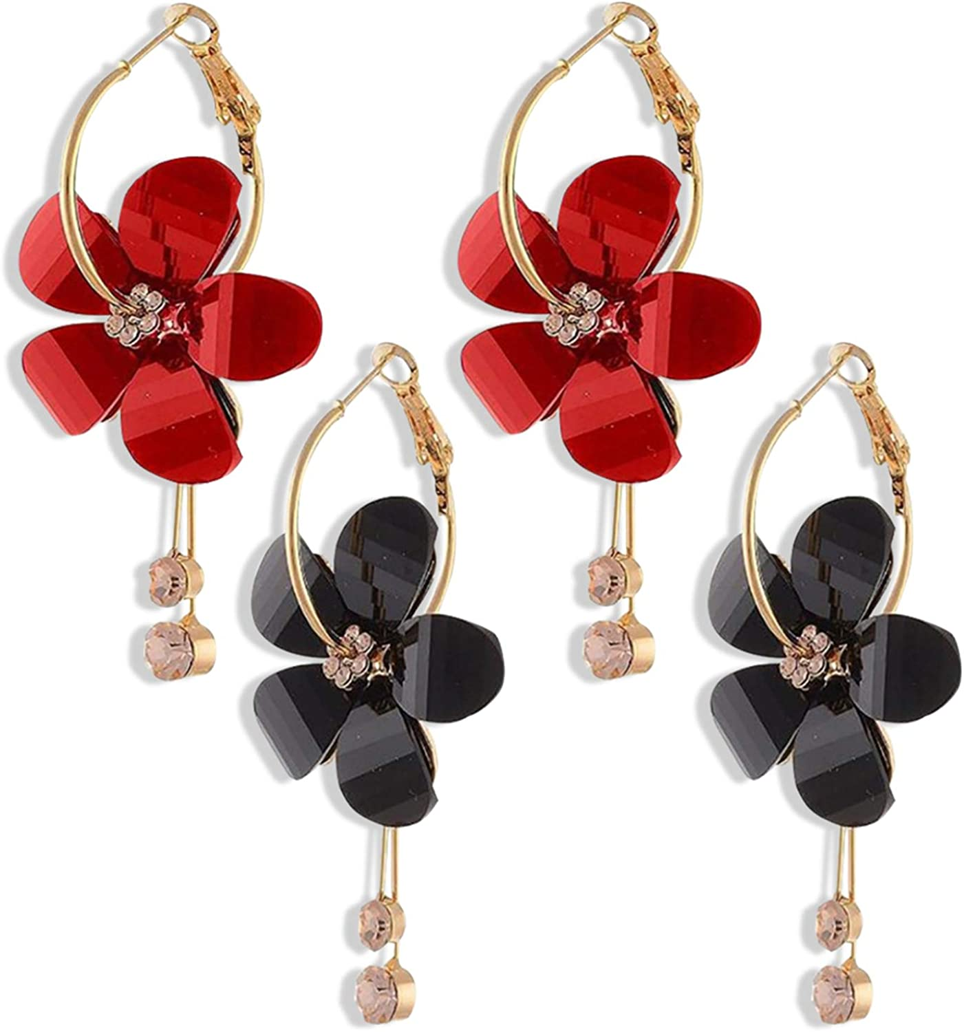 ZRosse 2 Pairs Fashion 5 Acrylic Petals and 5 Bricked Stamens with Two Long Chain Tassals Earrings Acrylic Resin Sun Flower Big Circle Stud Earrings for Women and Girls