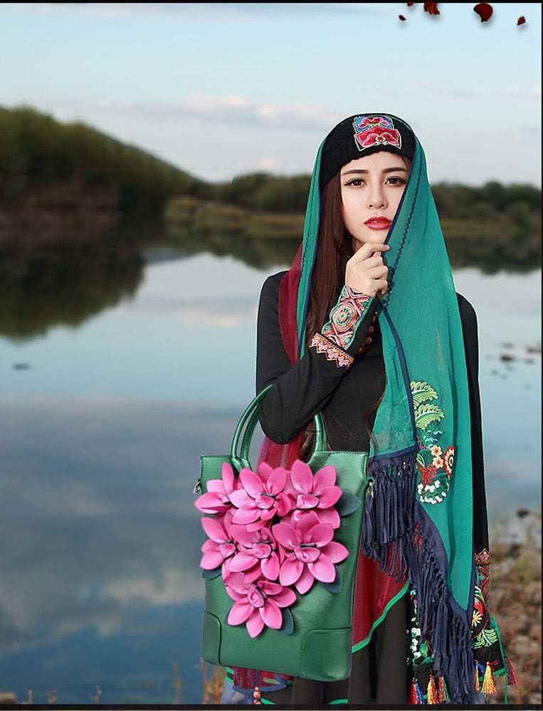 QXX Fleur Style Ethnique Sac à bandoulière rétro Couleur Large bandoulière Sac à Main (Color : Red) Green