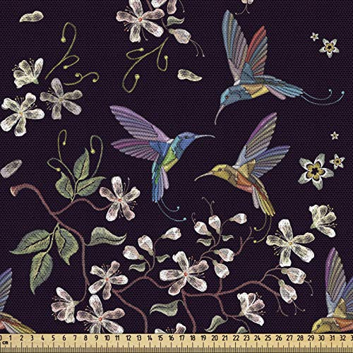 ABAKUHAUS Flor De Cerezo Tela por Metro, Colibríes, Decorativa para Tapicería y Textiles del Hogar, 1M (148x100cm), Multicolor