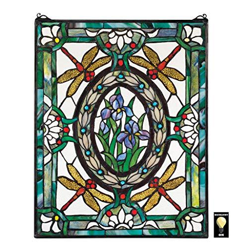 Design Toscano Libellen- und Blumendekor Hängende Buntglasfensterpaneele, Buntglas, Vollfarbe, 63,5 cm