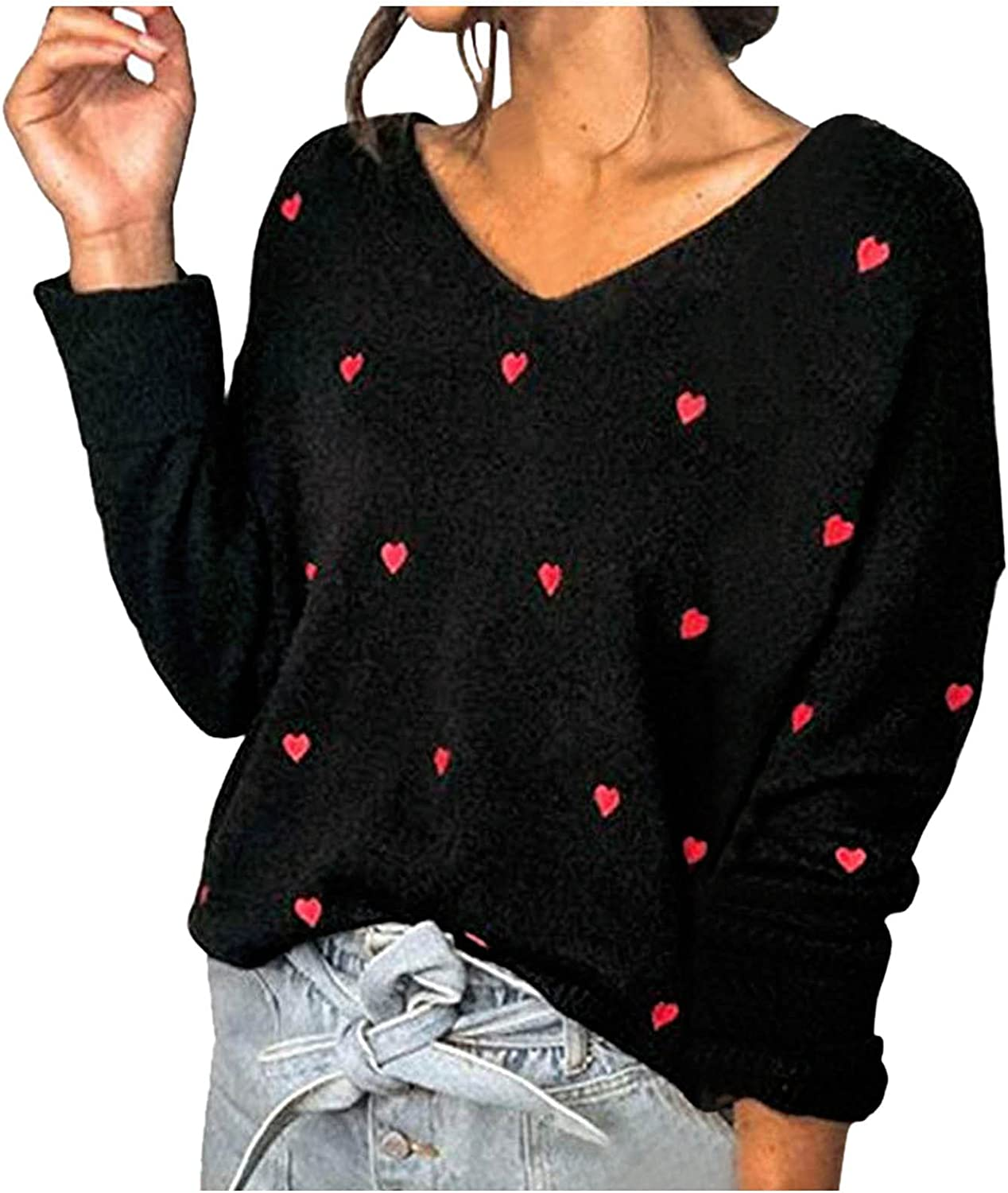 JPLZi Women's Fashion Long Sleeve Cute Heart Knitted Sweater V-Neck Loose Pullover Jumper Tops Casual Baggy Blouse Shirt