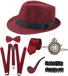 1920s إكسسوارات للرجال 20s جاتسبي رجل العصابات طقم إكسسوارات فيدورا قبعة حمالات النبيذ الأحمر