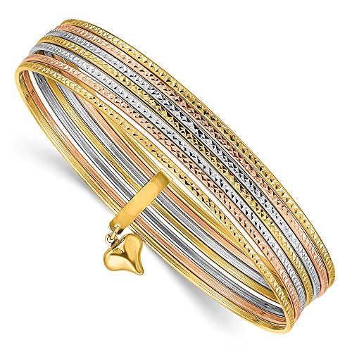 14k Dangle Heart Tri Color Yellow White Gold Set Of 7 Textured Slip On Bangles Bracelet Cuff Expandable Stackable Bangle Fine Jewelry For Women Gifts For Her