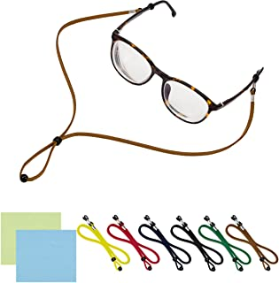 PAMASE 6 Packs Adjustable Eyeglasses Holder Chain Strap - Universal Fit Anti-Slip Eyewear Retainer Cord for All Sunglasses & Eyeglasses - Stylish ECO Leather