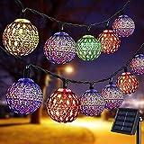 Senhui Lámpara solar, cadena de luces LED, 7 m, 50 luces LED solares marroquíes para exteriores, 8 modos, bolas de cristal solar para jardín, árboles, terraza, Navidad, bodas, fiestas (multicolor)