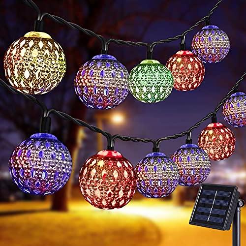 Senhui Solar Lampe,LED Solarbetriebenes Lichterketten ,7M 50 LED Solar Marokkanische Lichterketten Außen,8 Modi Solar Kristall Kugeln für Garten, Bäume, Terrasse, Weihnachten, Hochzeiten, Partys(Bunt)