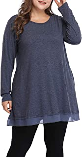 DADKA Shirts for Women Plus Size Casual Shirt Graceful Lace Tunic Long Loose Fit Top Blouse