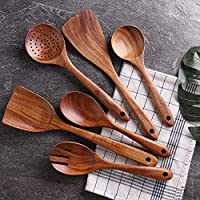 PIXLINQ Wooden Cooking Spoon Set with Spatulas for Non-Stick Kitchen Utensil Cooking Set Non Scratch Natural Rose Wood...