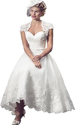 ae9db912588 Yuxin Lace Vintage Sweetheart Appliques Tea Length Wedding Dress 2018 Short  Cap Sleeves A line Bridal