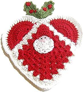 Agarradera roja con Papá Noel para Navidad de ganchillo- Tamaño: 17 cm x 19.5 cm H - Handmade - ITALY